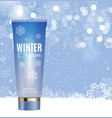 hand care winter cream bottle tube template for vector image vector image