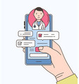 hand holding smartphone with internet chat with vector image