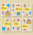happy birthday set infographics template concept vector image vector image