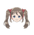 isolated head of an anime character girl vector image vector image