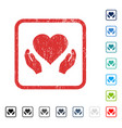 love care hands icon rubber watermark vector image vector image