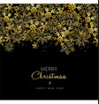 Merry Christmas and New Year gold snowflake design vector image vector image