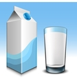 milk carton with glass vector image vector image