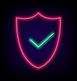 neon security shield with check mark safety vector image vector image