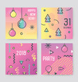 new year 2018 greeting cards abstract memphis vector image vector image