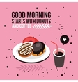 Perfect breakfast Donuts Coffee background Modern vector image
