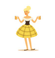 pretty blonde waitress in bavarian traditional vector image vector image