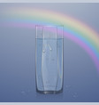 realistic glass filled with water on light vector image vector image