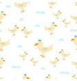 seamless pattern with cute seagull vector image vector image