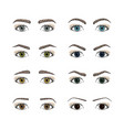 set female eyes olored iris eyes different forms vector image