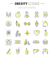 Set Flat Line Icons Obesity vector image vector image