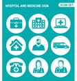 set of round icons white Hospital rescue vector image vector image