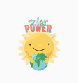 solar power character smile face sun hugging vector image vector image