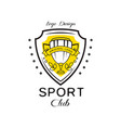 sport club logo design heraldic shield with vector image vector image