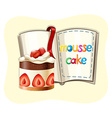 Strawberry cake and a book vector image vector image