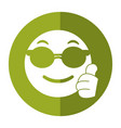 sunglasses and thumb emoticon style icon shadow vector image vector image