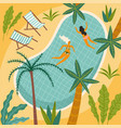 tropical beach and swimming vector image vector image
