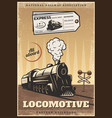 vintage colored industrial retro train poster vector image