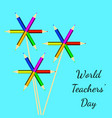 world teachers day flowers made of colored vector image vector image