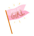 you go girl pink flag vector image vector image