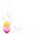 Happy Valentines day border Cupid boy angel vector image
