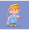 Cute catroon Boy fishing vector image