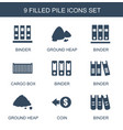 9 pile icons vector image vector image