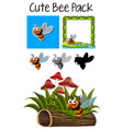 a pack of cute bee vector image vector image