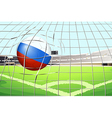 a soccer ball with the flag of russia hitting vector image