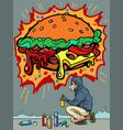 a teenage boy draws graffiti image burger vector image