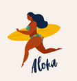 aloha poster with surfer girl with surfboard vector image