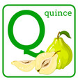 an alphabet with cute fruits letter q quince vector image