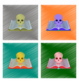 Assembly flat shading style icon book skull