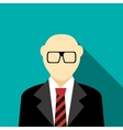 Bald man with a beard and glasses in suit icon vector image