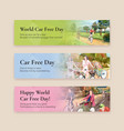 banner template with world car free day concept vector image vector image