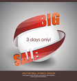 big sale sign design white ball with red arrow vector image vector image