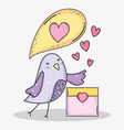 bird with chat bubble and calendar to valentines vector image