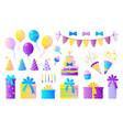 birthday party set decorative elements vector image vector image
