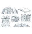 books engraving vintage open book engrave sketch vector image vector image