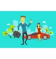 Businessman attained success Car keys winning vector image vector image