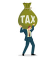 businessman holding a big money bag with word vector image vector image