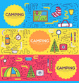 Camping equipment set circle infographics template vector image