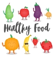 Cartoon fruits and vegetables Healthy style vector image