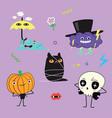 cartoon halloween characters vector image vector image