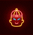 chinese boy neon sign vector image vector image