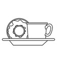 coffee cup and donut on dish in monochrome vector image