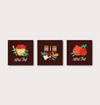collection square rosh hashanah cards vector image vector image