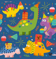 colorful seamless pattern with dinosaurs birthday vector image vector image