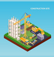 construction site isometric concept vector image vector image