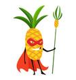 cute cartoon smiling pineapple superhero in mask vector image